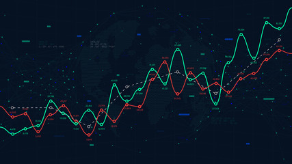Global network of world big data, financial profit and loss curve, vector background for business