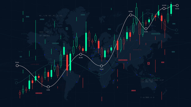 Financial market analytics graph on a world map background, scale of pieces and stock markets, traders dashboard, vector illustration