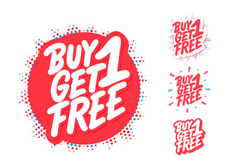 Buy one get one free. Vector lettering icons set. Fototapete