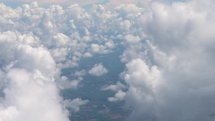 Foto En Lienzo - white clouds on sky  view from the airplane flying