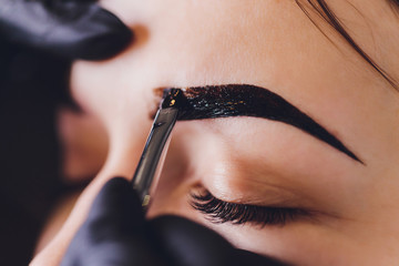 Fototapeta beautician- makeup artist applies paint henna on previously plucked, design, trimmed eyebrows in a beauty salon in the session correction. Professional care for face. obraz
