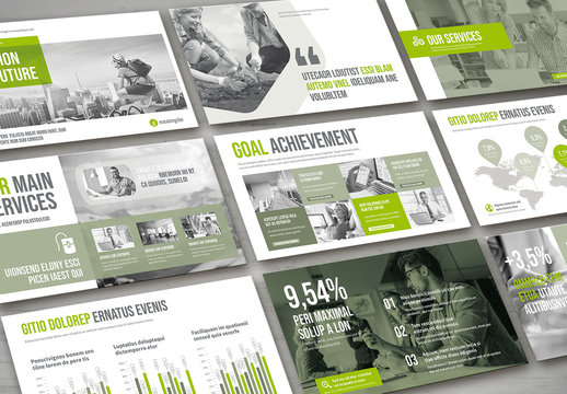 Presentation Pitch Deck Layout in Gray and Green