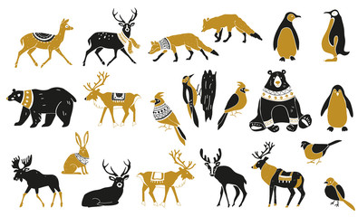 Set of winter animals silhouettes. Set of Christmas Scandinavian elements. Nordic retro design. Isolated vector illustration objects. Forest wild animals and birds. Vector hand drawn illustration.