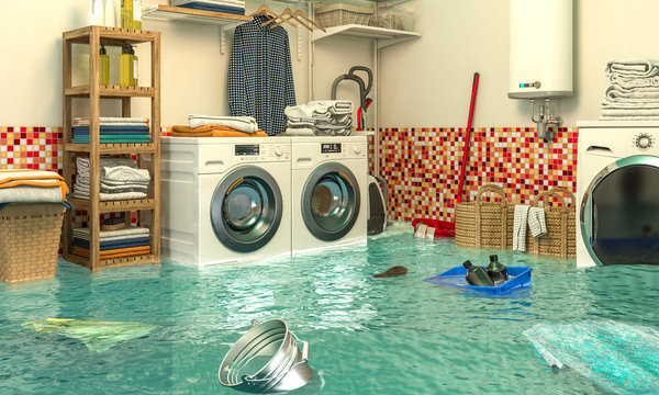 3d render image of an interior of a flooded laundry.