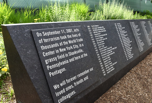 Washington, DC - June 01, 2018: Pentagon Memorial dedicated to the victims of the September 11, 2001 attack.