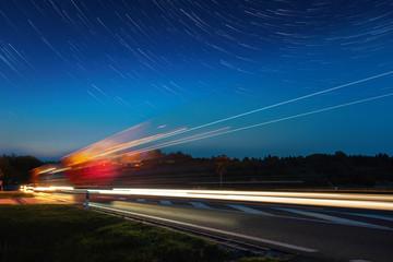 Speed Traffic - light trails on motorway Wall mural