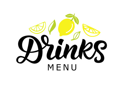 Drinks vector logo badge, green cocktail bar calligraphy logotype