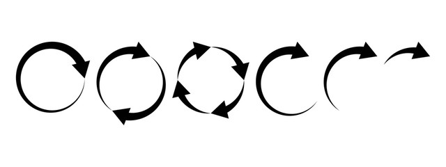 Black round arrows set, circle shapes. Vector illustration Fotomurales