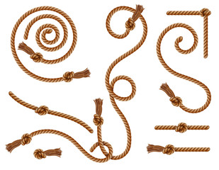 Realistic braided ropes and curtain tassels knots