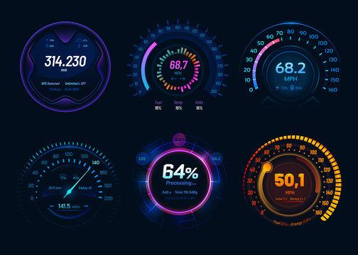 Car speedometer, digital neon LED light gauges