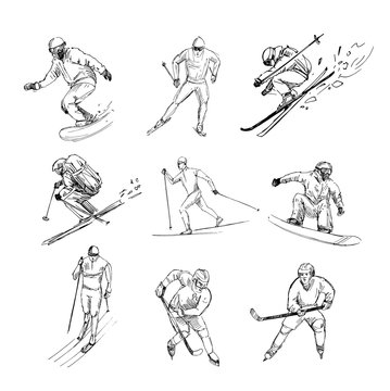 Winter sports. Snowboarder, skier, hockey player. Set of black outlines with transparent background