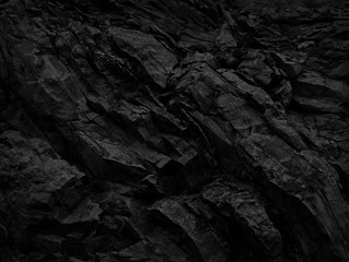 Black and white background. Abstract grunge background. Black stone background. Dark gray rock texture. Distrusted backdrop. Fotobehang