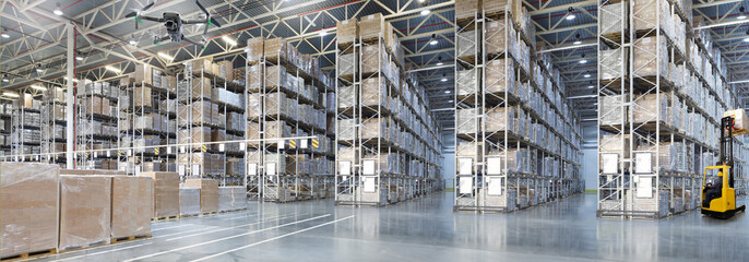 Goods monitoring by Drone in a Huge distribution warehouse with high shelves