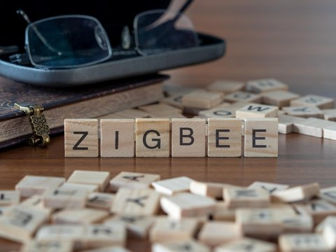 zigbee the word or concept represented by wooden letter tiles