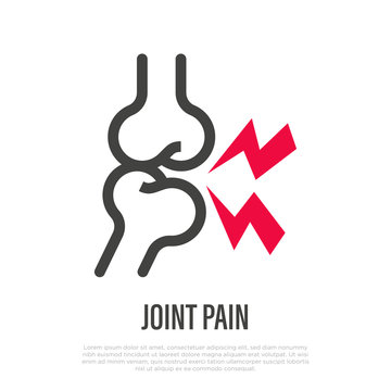 Joint pain thin line icon. Vector illustration of arthritis symptom.