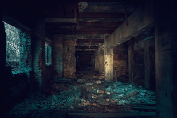 Foto op Plexiglas Oude verlaten gebouwen Dark creepy industrial tunnel or corridor with destruction and debris after crisis or disaster, toned