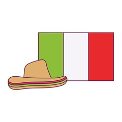 Isolated mexican hat and flag vector design