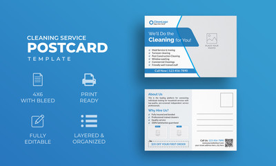 Cleaning Service Postcard Template | Modern Postcard Template