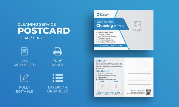 Cleaning Service Postcard Template   Modern Postcard Template
