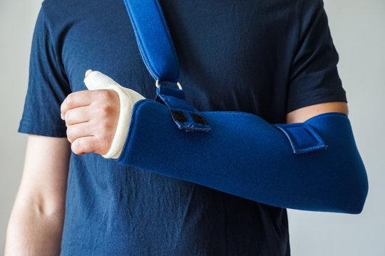 Man with plaster cast on broken thumb,broken wrist, broken hand on arm sling