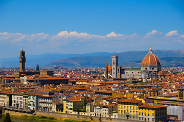 Aluminium Prints Florence Beautiful landscape view of amazing Florence city with Cathedral Duomo Santa Maria del Fiori and bridges over the river Arno at sunset. Firenze scenery panorama, Italy Europe. Italian summer vacation.
