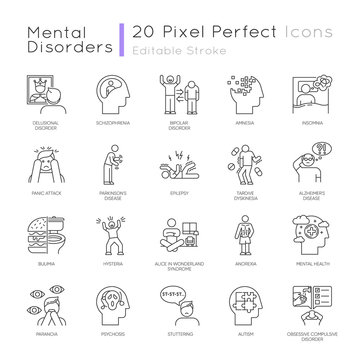Mental disorder linear icons set. Delusions, schizophrenia. Amnesia. Bipolar disorder. Bulimia, anorexia. Autism. Thin line contour symbols. Isolated vector outline illustrations. Editable stroke