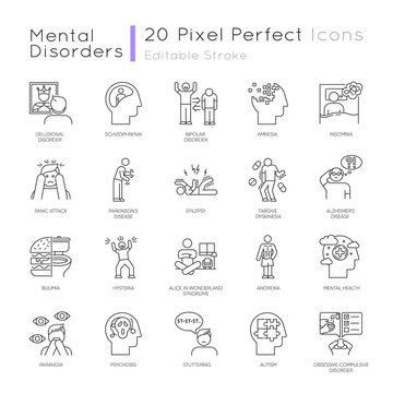 Mental disorder linear icons set. Delusions, schizophrenia. Amnesia. Bipolar disorder. Bulimia, anorexia. Autism. Thin line contour symbols. Isolated vector outline illustrations. Editable stroke