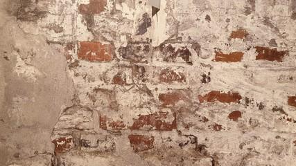 Deurstickers Oude vuile getextureerde muur Cracked worn brickwork concrete wall