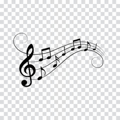 Music notes and symbols, musical design, isolated, vector illustration.