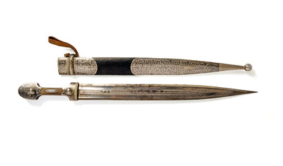 Isolated White Background Antique Dagger, Old dagger with a silver sheath to carry the weapon isolated on a white background with copy space