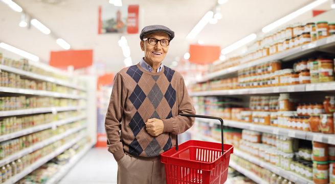 Senior with a shopping basket