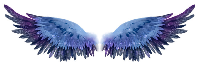 Beautiful magic dark blue violet watercolor wings Wall mural