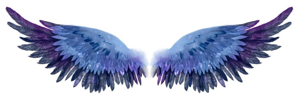 Beautiful magic dark blue violet watercolor wings