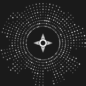 White Japanese ninja shuriken icon isolated on grey background. Abstract circle random dots. Vector Illustration