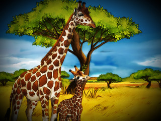 cartoon safari scene with giraffes family eating on the meadow - illustration for children