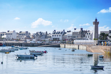 Sunny day in the port of Roscoff, a commune in the Finistere departement of Brittany in northwestern France near Île de Batz. Fototapete