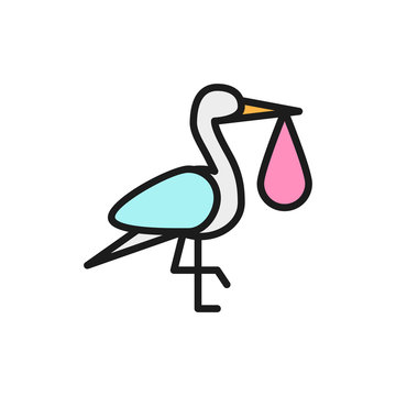 Crane bird with baby bag, stork flat color line icon.