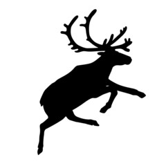 Running reindeer or caribou  icon. Silhouette of Santa Claus's reindeer. Vector Illustration