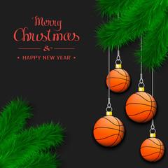 Basketball balls on a Christmas tree branch