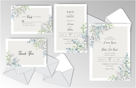 Elegant Hand drawn Wedding Stationary Template Collection