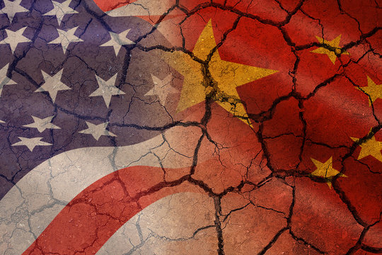 USA and China trade war economy recession conflict tax business finance money - Relations America and chinese flags cracked wall background