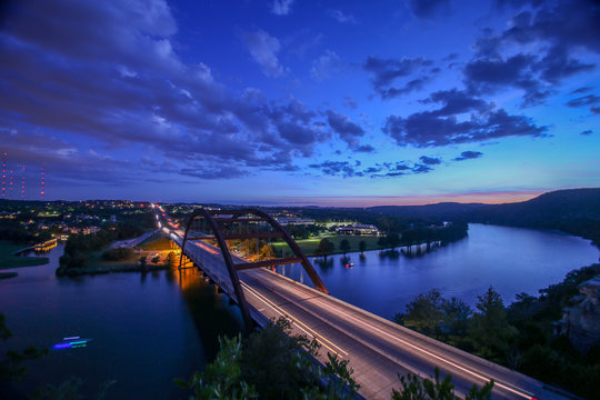 Aerial View of Bridge in Austin, TX