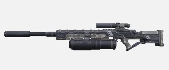 Science fiction military laser gun.