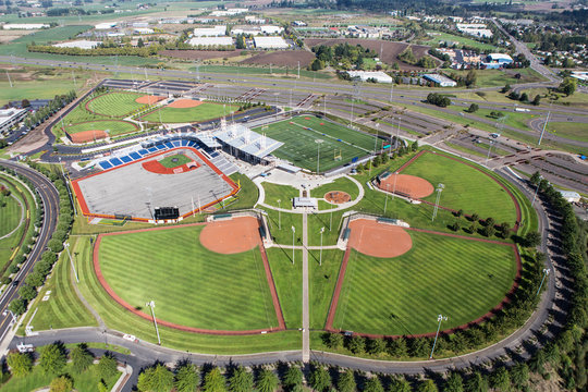 Baseball and Football Fields Aerial View