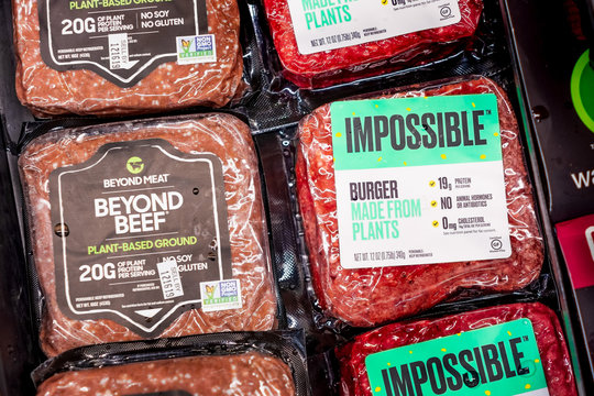 Dec 8, 2019 Los Angeles / CA / USA - Impossible burger and Beyond Beef packages sold next to each other in a Gelson's Markets store; both products are plant based
