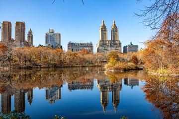Fairy park in a fabulous city..The Central Park  at Autumn. New York City