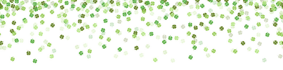 Foto auf AluDibond Künstlich Green clover new year luck confetti falling seamless pattern background isolated