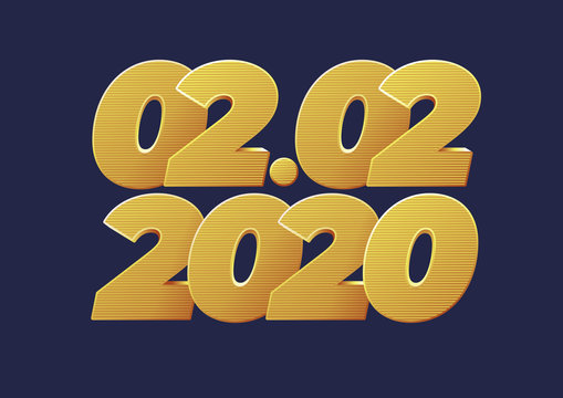 02.02.2020, 2 February 2020 banner. Golden luxury numbers. Gold Festive Numbers Design.