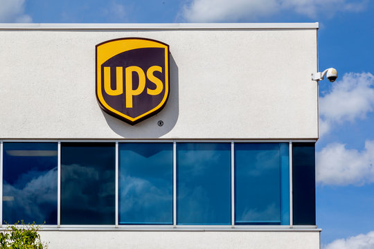 Burlington, Ontario, Canada - August 30, 2019: Sign of UPS Supply Chain Solutions Inc building in Burlington, Ontario, Canada. UPS is an American multinational package delivery company.