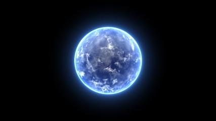 Energy Ball Motion Graphics. Blue earth planet Fotomurales